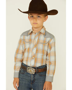 Roper Boys' Orange Plaid Contrast Yoke Long Sleeve Snap Western Shirt , Grey, hi-res