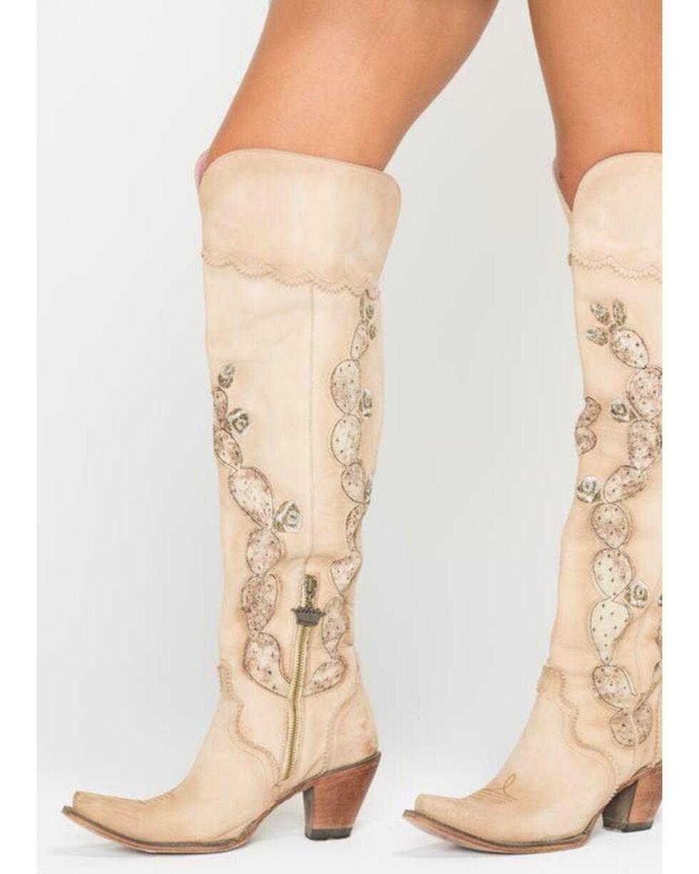 Junk Gypsy by Lane Women's Cactus Knee High Boots - Snip Toe , Cream, hi-res