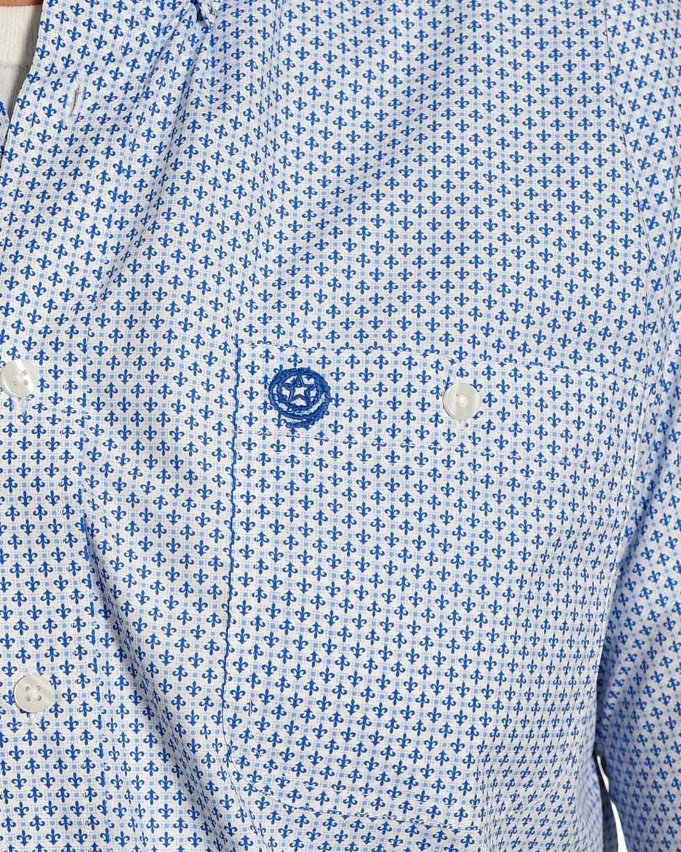 Wrangler Men's White George Strait Fleur De Lis Short Sleeve Shirt -Tall, Blue, hi-res