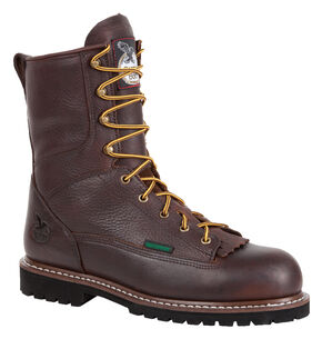 "Georgia Waterproof 8"" Low Heel Logger Work Boots - Round Toe, Chocolate, hi-res"