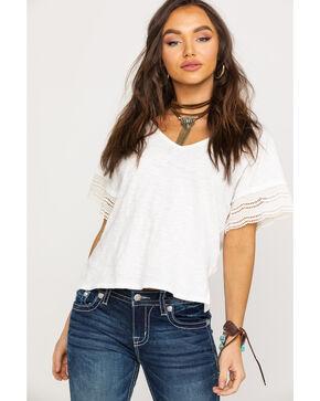 Shyanne Women's White V-Neck Lace Short Sleeve Tee  , White, hi-res