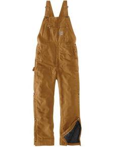 Carhartt Men's Brown Loose Fit Firm Duck Insulated Work Bib Overalls , Brown, hi-res
