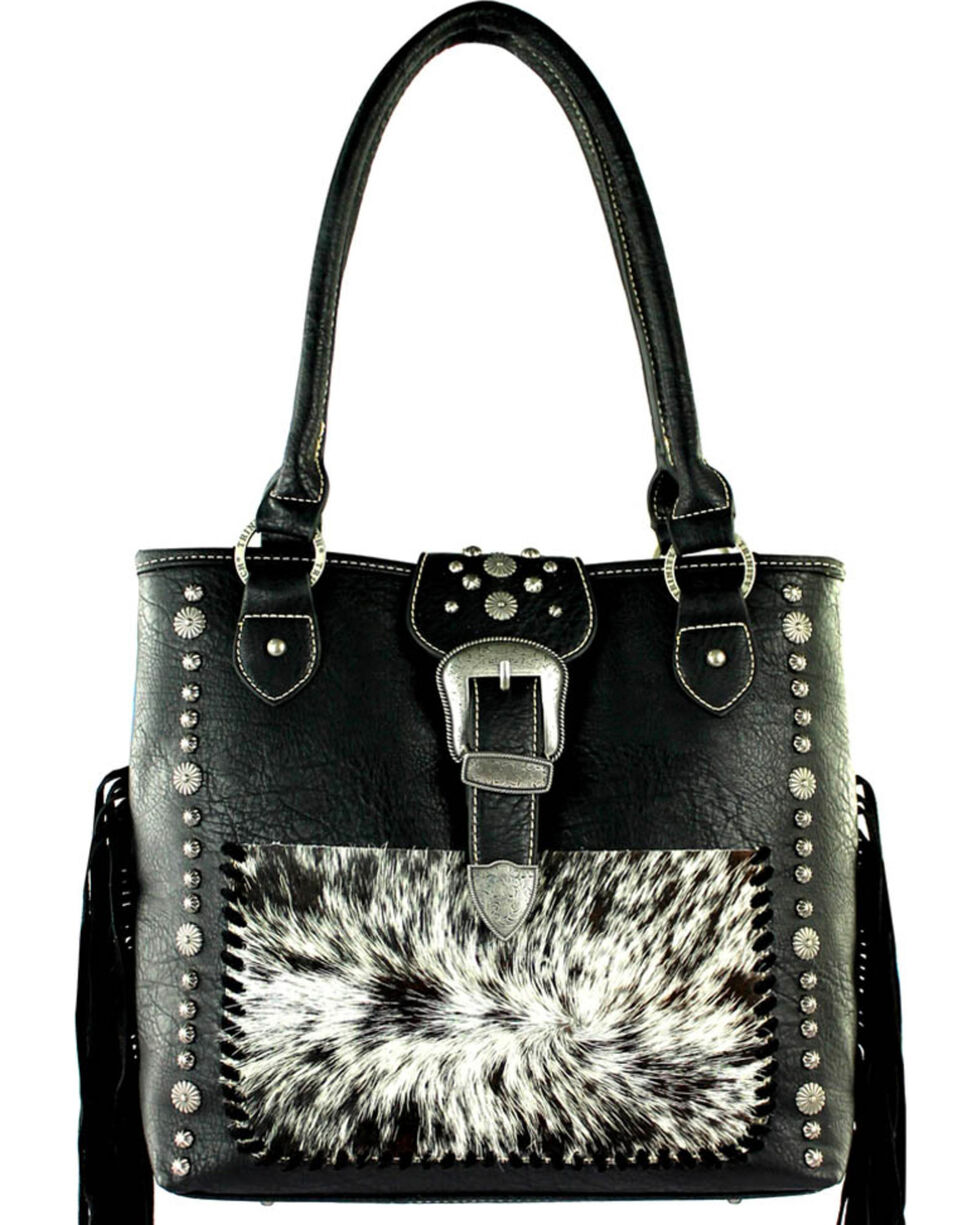 Trinity Ranch Women's Black Hair-On Conceal Carry Tote , Black, hi-res