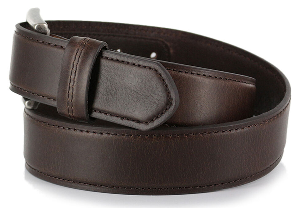 American Worker Men's Brown Leather Belt, Brown, hi-res