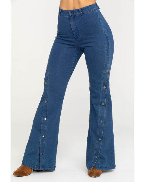 Flying Tomato Women's High-Waist Button Detail Jeans - Flare, Indigo, hi-res
