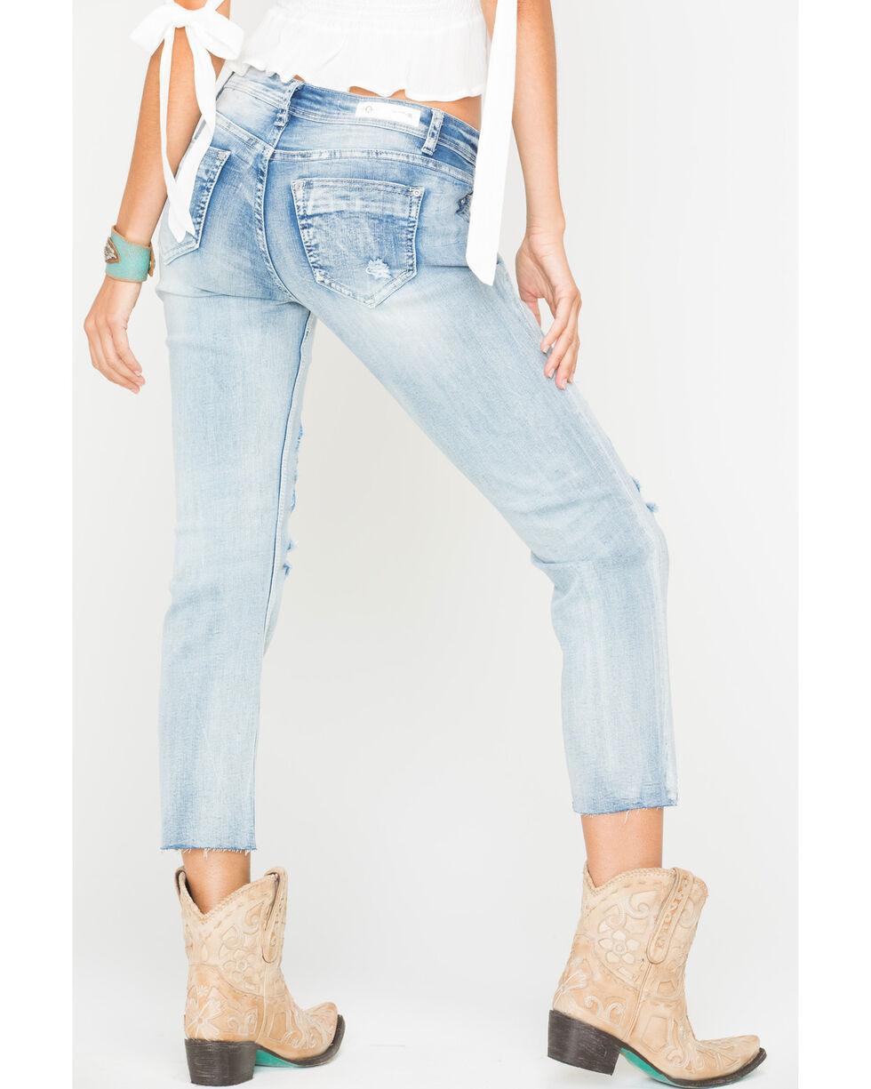 Grace in LA Women's Embroidered Boyfriend Jeans - Straight Leg , Indigo, hi-res