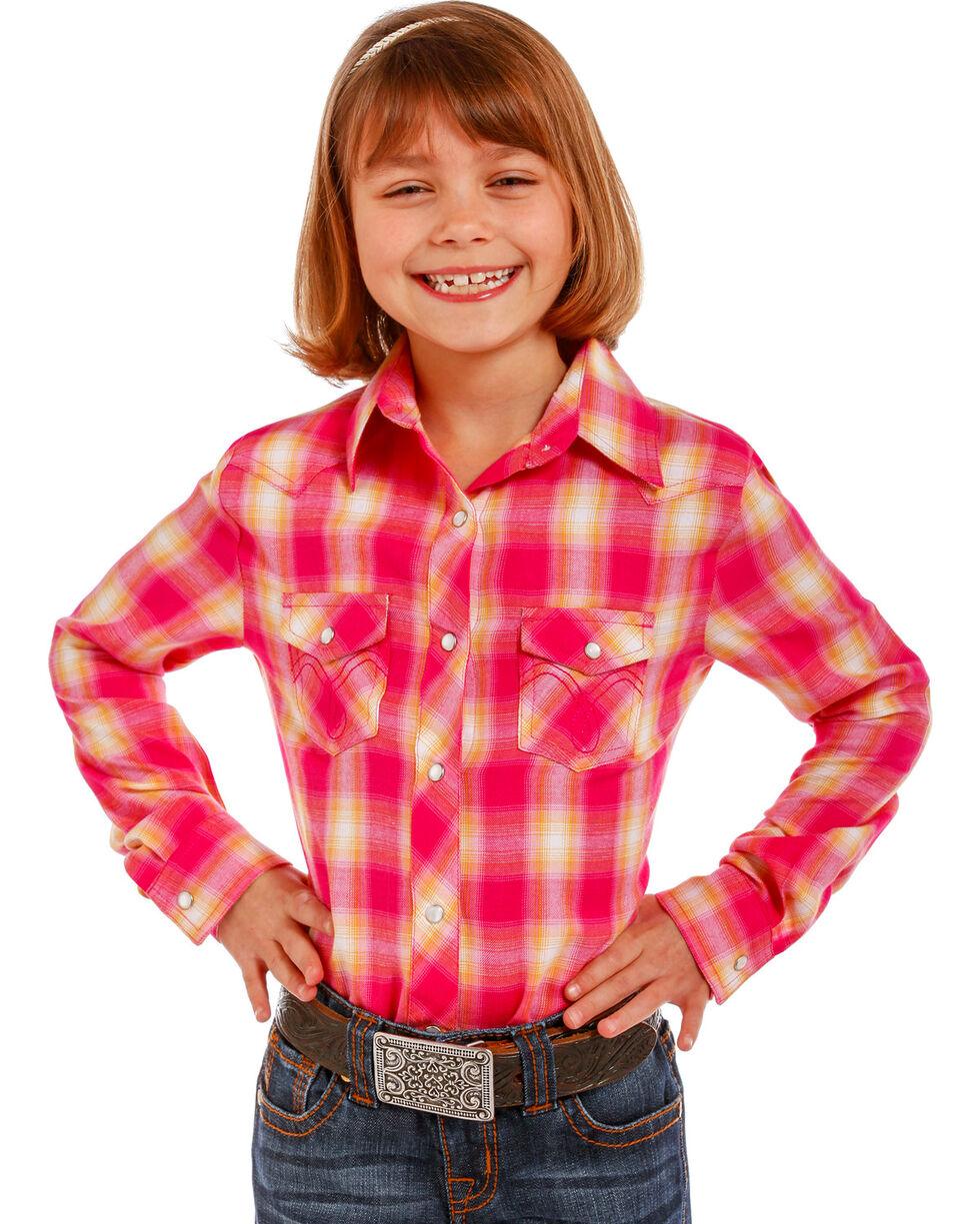 Panhandle Girls' Pink Plaid Snap-Down Shirt , Pink, hi-res