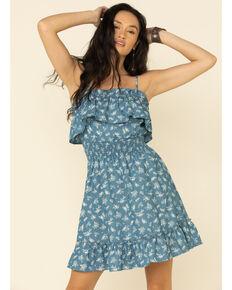 Jody of California Women's Ruffled Floral Dress, Blue, hi-res