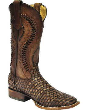Corral Men's Brown Braided Lizard Print Boots - Square Toe , Brown, hi-res