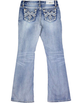 Grace in LA Girls' Blue Stitched Pocket Jeans - Boot Cut , Blue, hi-res