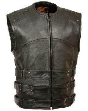Milwaukee Leather Men's Updated SWAT Style Biker Vest, Black, hi-res