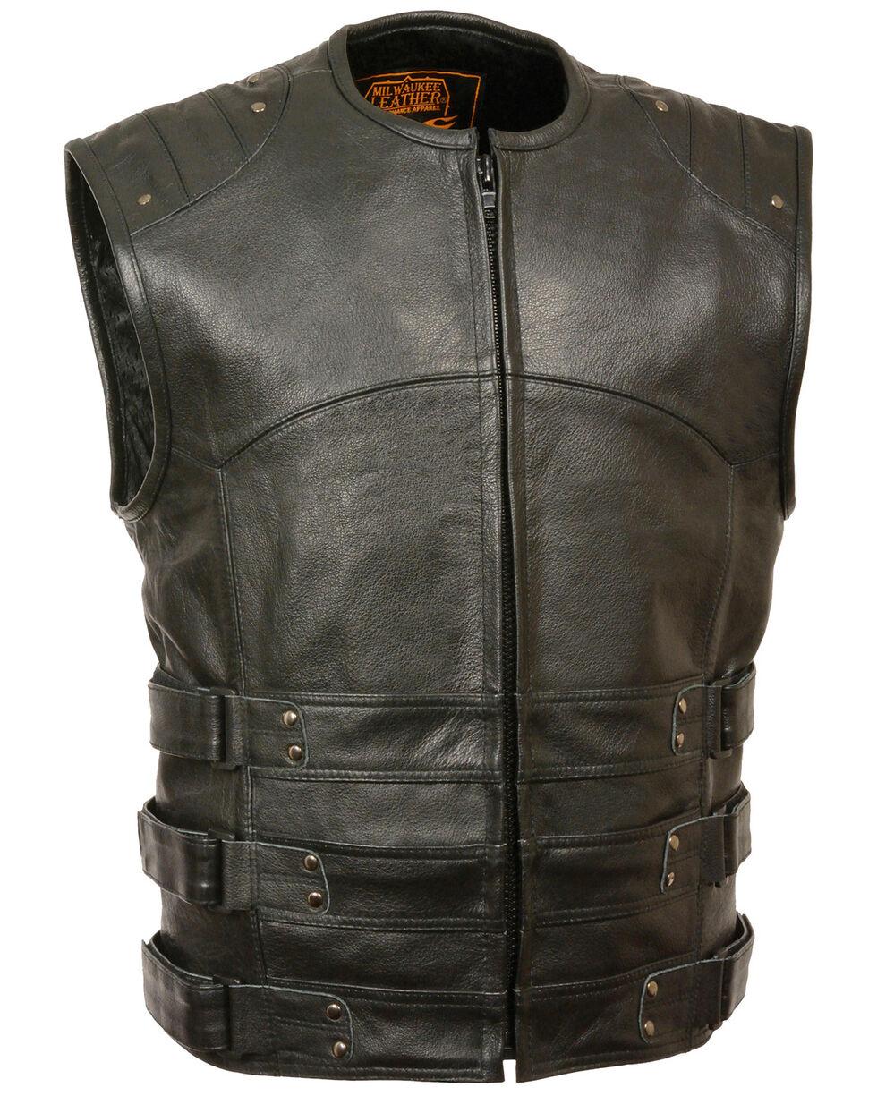 Milwaukee Leather Men's Updated SWAT Style Biker Vest - 4X, Black, hi-res