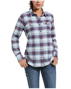 Ariat Women's Baby Blue Plaid Rebar Flannel Durastretch Long Sleeve Work Shirt, Light Blue, hi-res