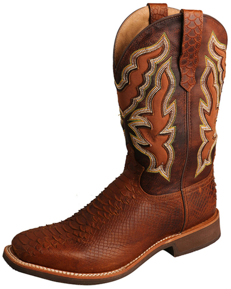 Twisted X Men's Brandy Python Print Western Boots - Wide Square Toe, Tan, hi-res