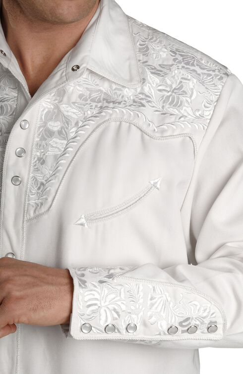 Scully White Floral Embroidery Retro Western Shirt - Big & Tall, White, hi-res