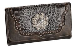 Blazin Roxx Croc Print Faux Leather Checkbook Wallet, Blue, hi-res