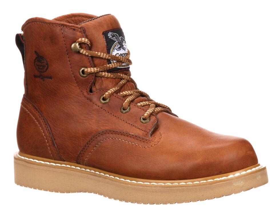 "Georgia Men's 6"" Barracuda Gold Wedge Work Boots - Steel Toe , Brown, hi-res"