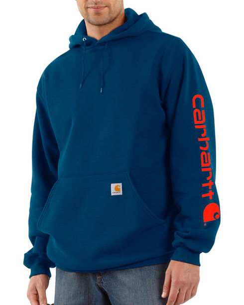 Carhartt Men's Blue Midweight Hooded Logo Sweatshirt - Tall , Blue, hi-res