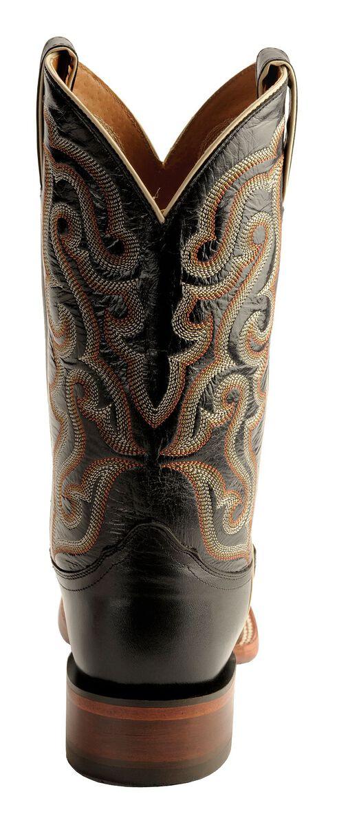 Nocona Calfskin Leather Cowboy Boots - Square Toe, Black, hi-res