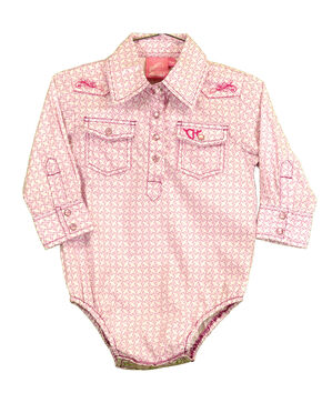 Cowgirl Hardware Infant Girls' Snowflake Diamond Print Long Sleeve Western Romper, Pink, hi-res