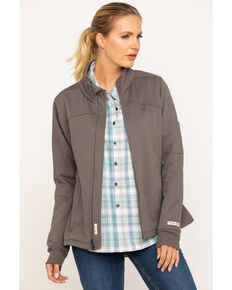 Wrangler Riggs Women's Charcoal Zip-Up Work Jacket, Charcoal, hi-res