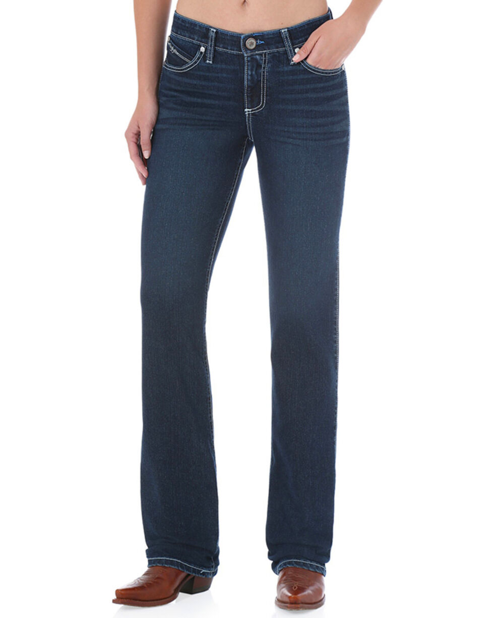 Wrangler Women's Dark Wash Cool Vantage Ultimate Riding Q-Baby Jeans - Plus, Blue, hi-res