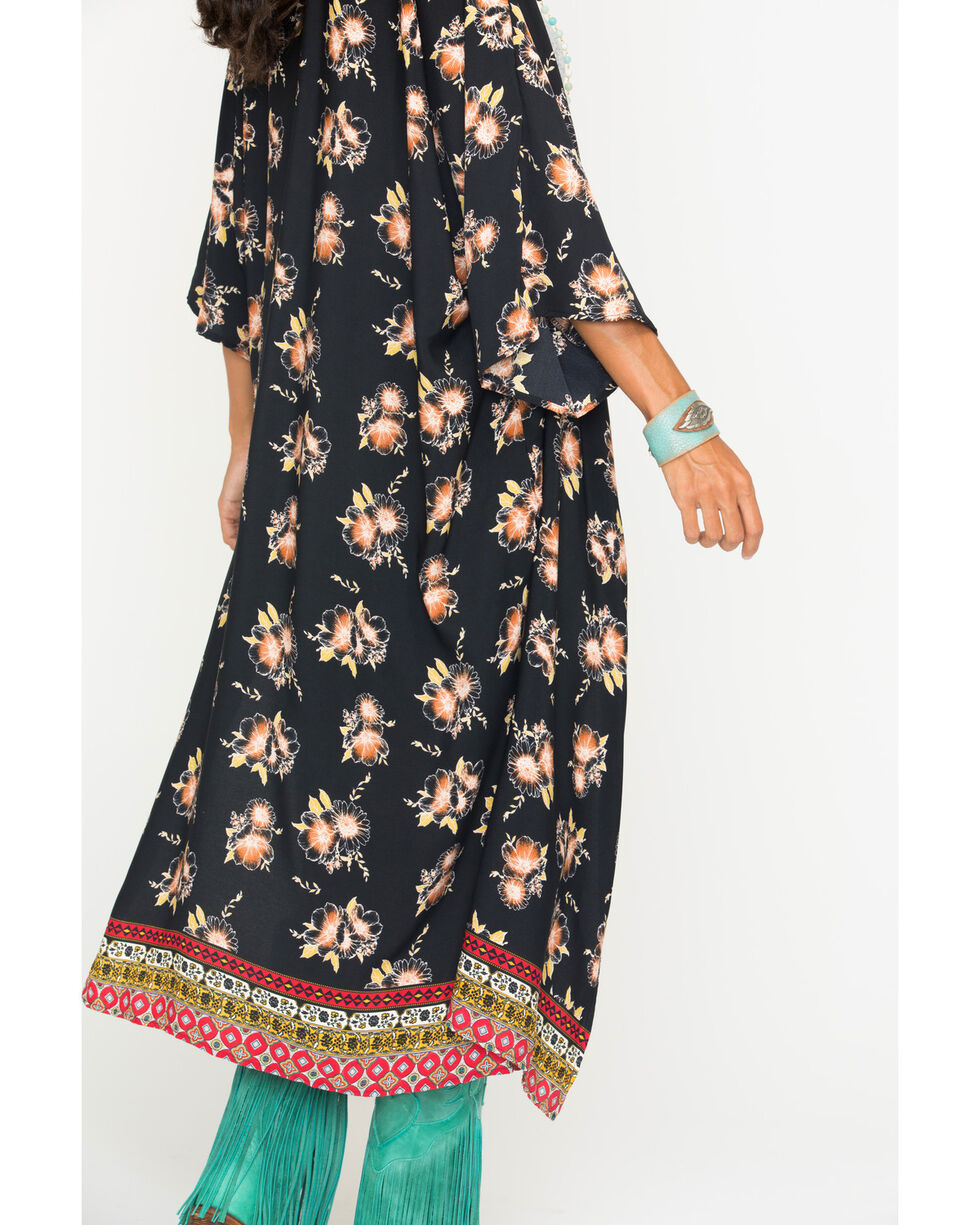 Ces Femme Women's Floral Long Kimono Cardigan, Black, hi-res
