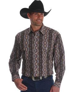 Wrangler Men's Checotah Stripe Long Sleeve Western Shirt - Big & Tall, Brown, hi-res