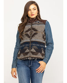 Outback Trading Co. Women's Brown Aztec Maybelle Vest , Chocolate, hi-res