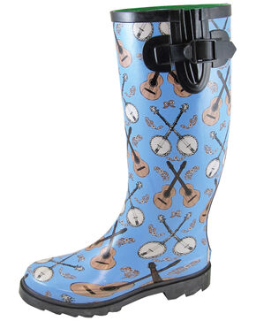Smoky Mountain Women's Blue Banjo Rubber Rain Boots - Round Toe, Blue, hi-res