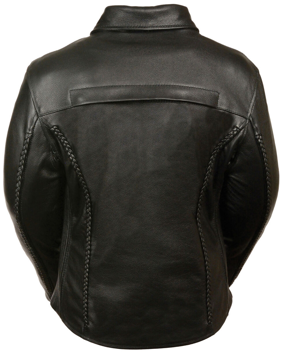 Milwaukee Leather Women's Shirt Collar Braided Leather Jacket, Black, hi-res