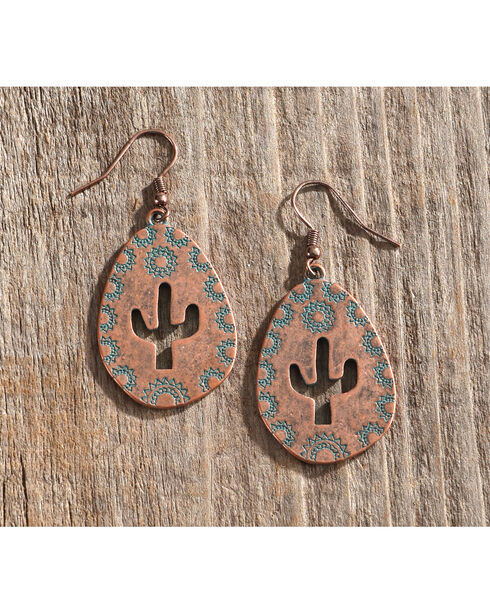 Shyanne Women's Cactus Cutout Teardrop Earrings, Turquoise, hi-res