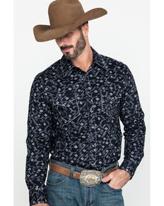 Rock & Roll Denim Men's Aztec Poplin Print Long Sleeve Western Shirt , Black, hi-res