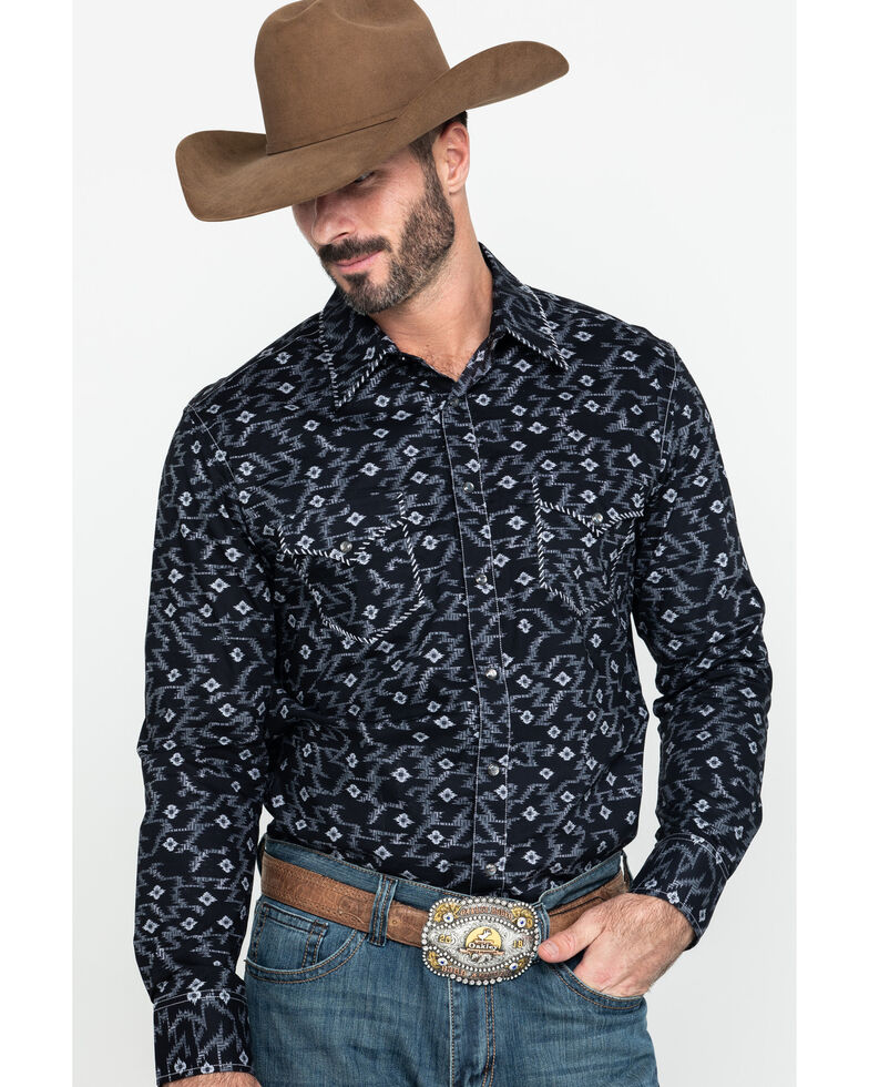 Rock & Roll Denim Men's Aztec Poplin Print Long Sleeve Western Shirt , Black, hi-res