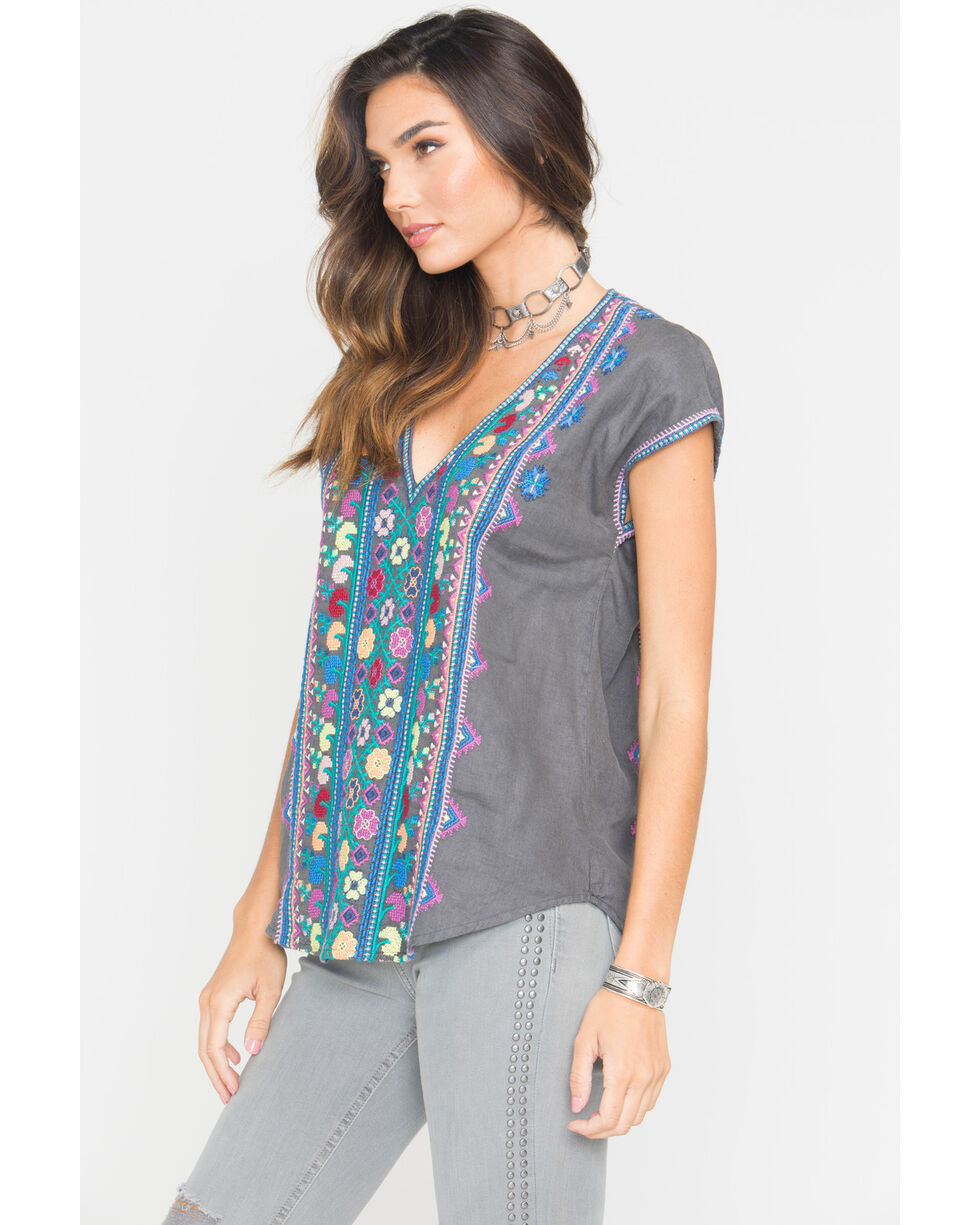 Johnny Was Women's Voltage Clover Deep V Pull On Shirt , Charcoal, hi-res