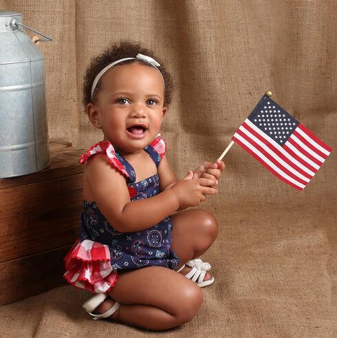 Wrangler Infant Girls' Navy Sleeveless Ruffled Edge Romper, Navy, hi-res