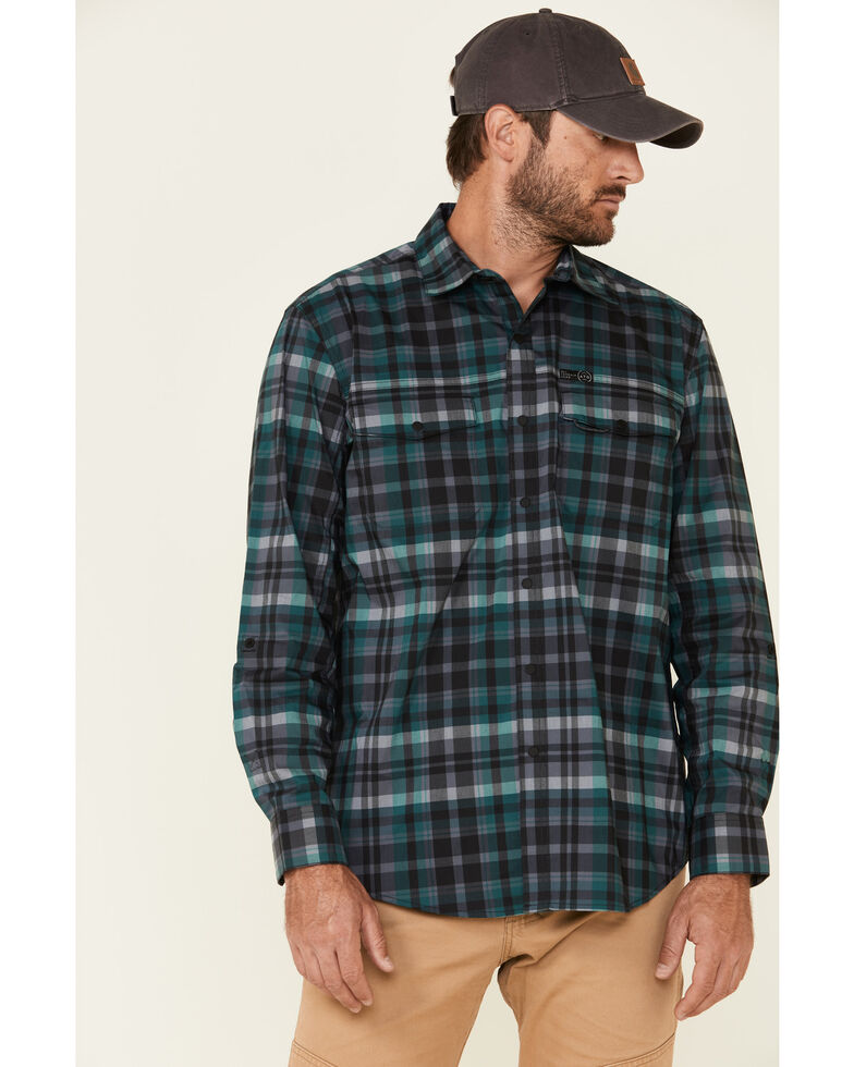 ATG™ by Wrangler Men's All Terrain Dark Green Plaid Pocket Utility Long Sleeve Western Flannel Shirt , Green, hi-res
