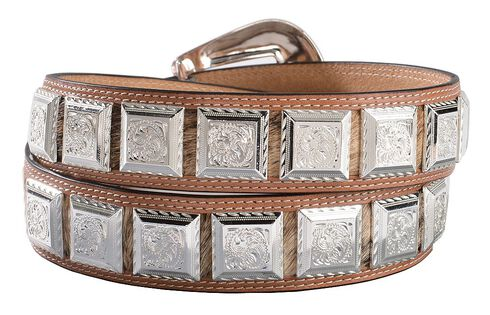 3D Fancy Concho Hair-on-Hide Leather Belt, Tan, hi-res