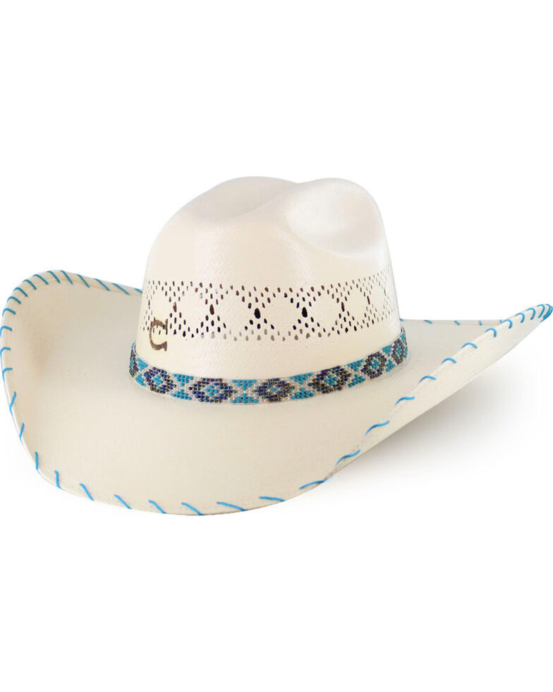 42da4c40f095e0 Zoomed Image Charlie 1 Horse Girls' Apache Straw Hat, Natural, hi-res
