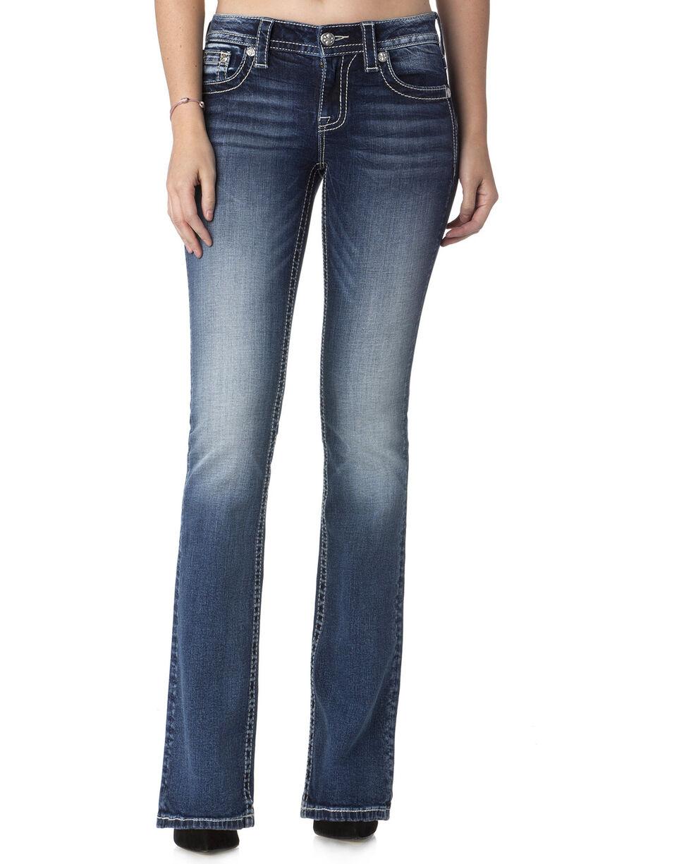 Miss Me Women's Reign Supreme Mid-Rise Boot Cut  Jeans , Indigo, hi-res