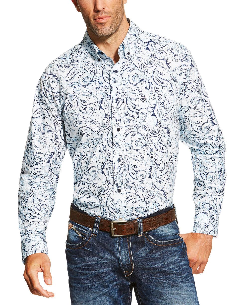 Ariat Men's Bronson Paisley Print Long Sleeve Shirt, White, hi-res