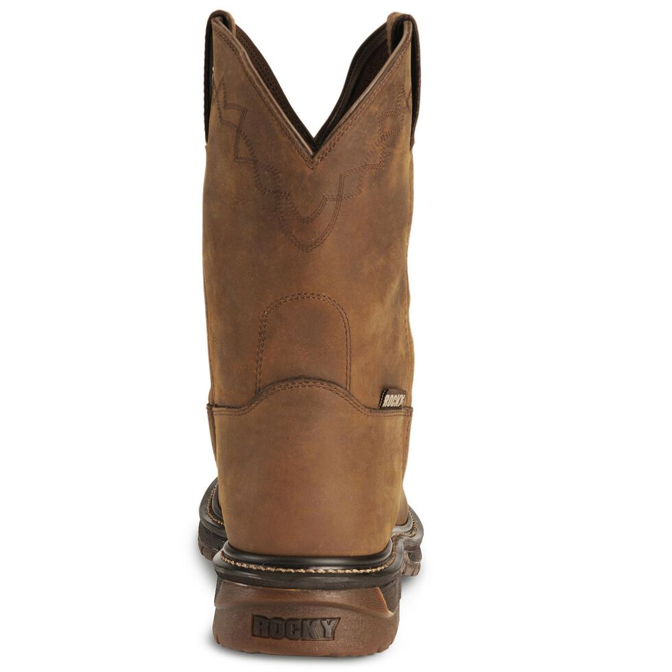 "Rocky 10"" Original Ride Roper Western Work Boots, Tan, hi-res"