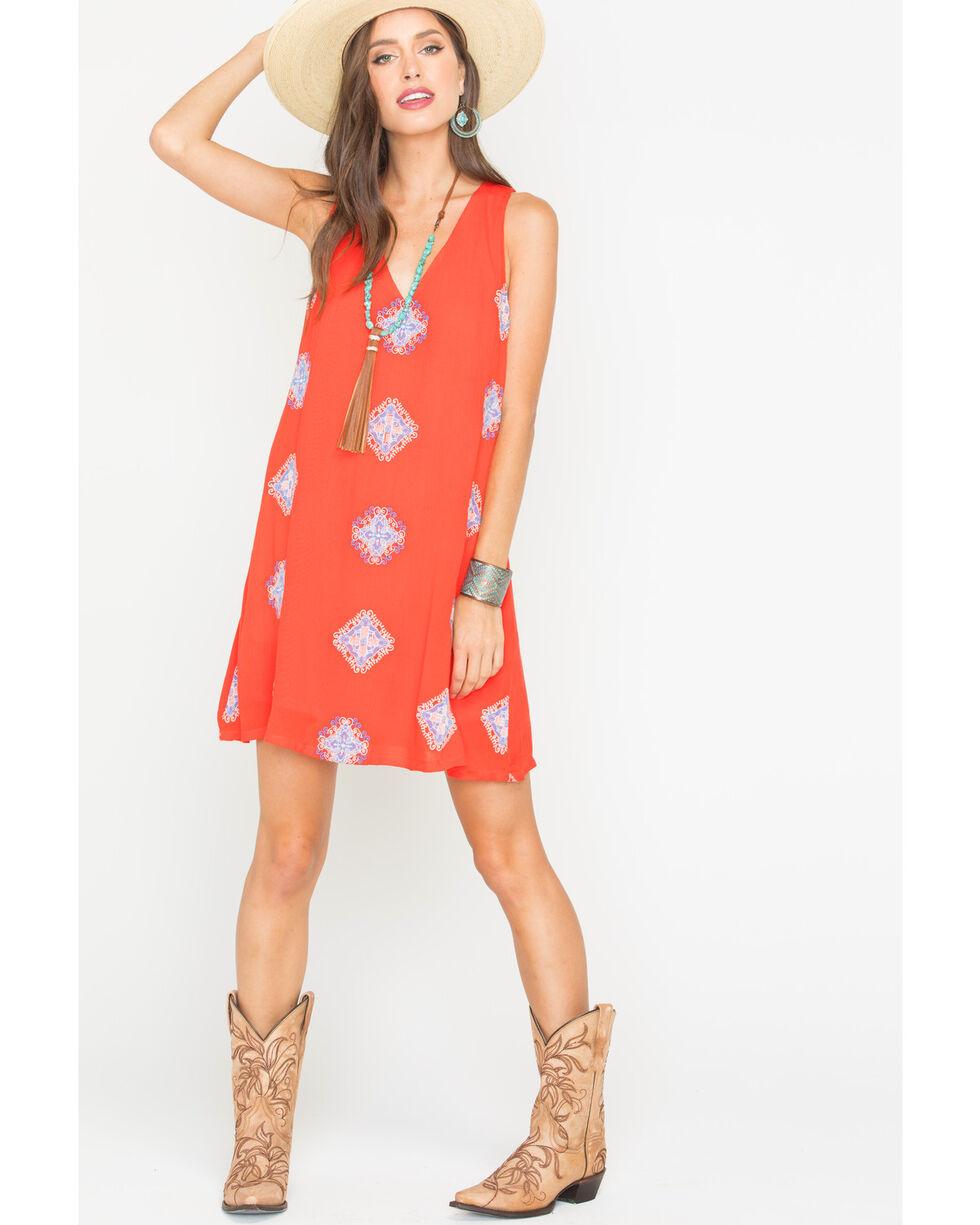 Miss Me Women's Piece Of Art Lace-Back Dress, Coral, hi-res