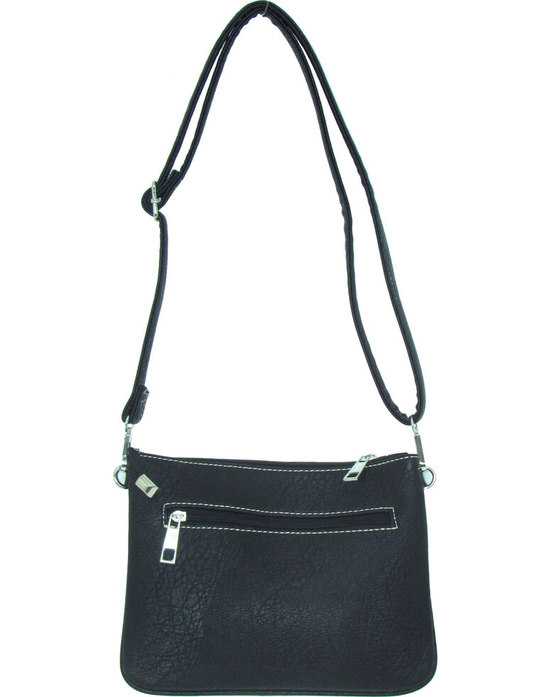 Savana Women's Fuax Leather Patchwork Crossbody Bag , Black, hi-res