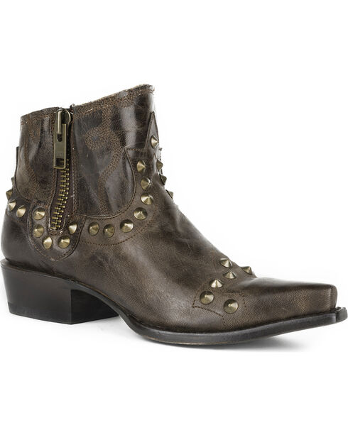 Stetson Women's Brown Shelby Studded Western Boots - Snip Toe, Brown, hi-res