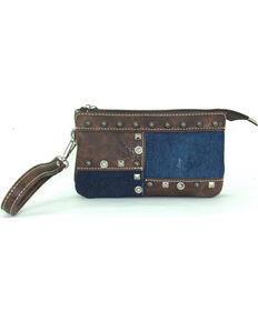 Savana Women's Faux Leather Clutch Patchwork Wristlet , Blue, hi-res