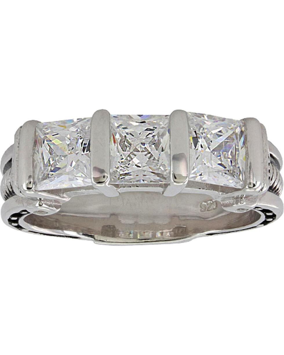 Montana Silversmiths Women's Silver Three Times a Stone Horseshoe Nail Ring - Size 9, Silver, hi-res