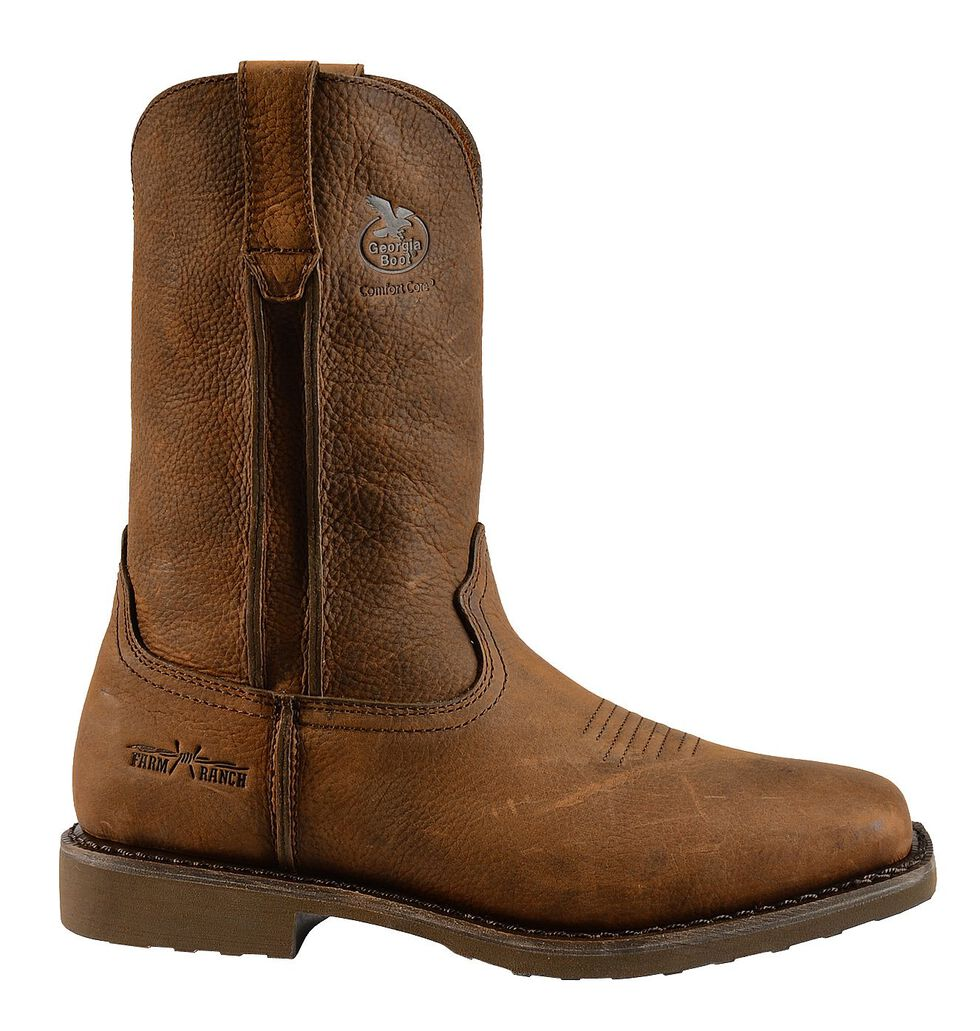 Georgia Boot Carbo Tec Wellington Pull-On Work Boots - Square Toe, Brown, hi-res