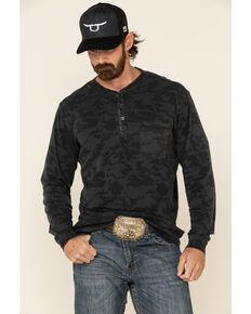Moonshine Spirit Men's Camo Operative Henley Button Long Sleeve Shirt, Black, hi-res
