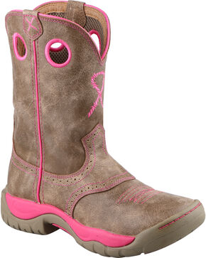 Twisted X Women's Tough Enough to Wear Pink All Around Cowgirl Boots - Round Toe, Brown, hi-res